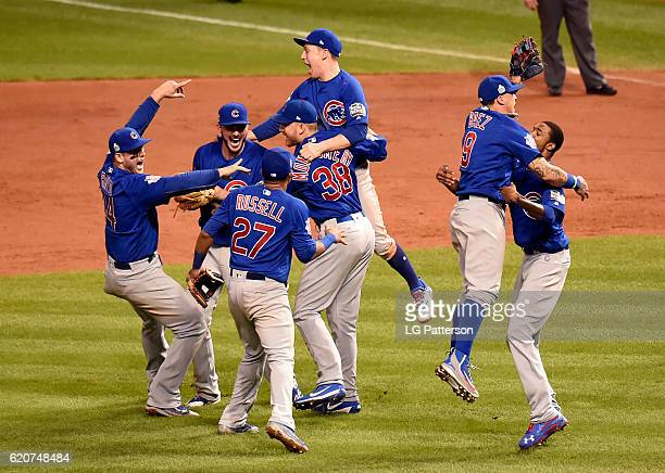 Members of the Chicago Cubs celebrate defeating the Cleveland Indians in Game 7 of the 2016 World Series at Progressive Field on Wednesday November 2...