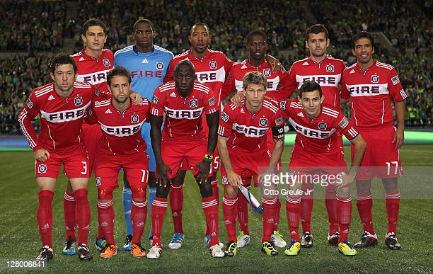 Members of the Chicago Fire pose for the team photo prior to the 2011 Lamar Hunt US Open Cup Final against the Seattle Sounders FC at CenturyLink...