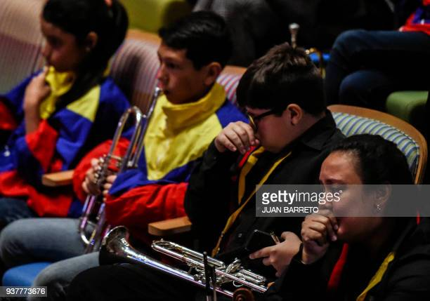 Members of the Children and Youth Orchestras attend the wake of the founder of the National System of Children and Youth Orchestras Jose Antonio...
