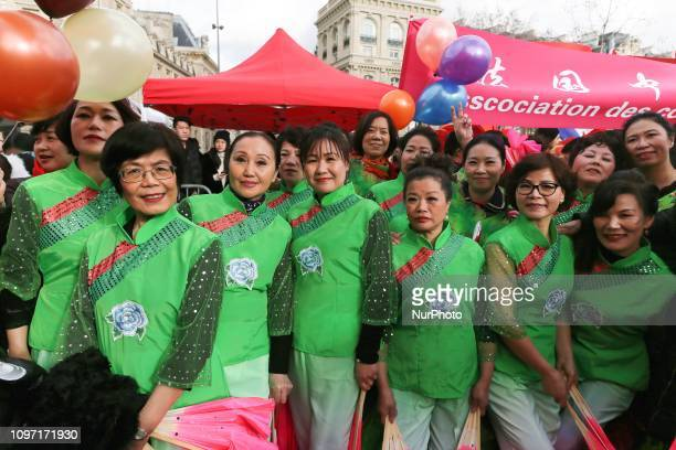 Members of the Chinese community celebrate the Chinese Lunar New Year on February 10 in the place de la Republique in the French capital Paris on...