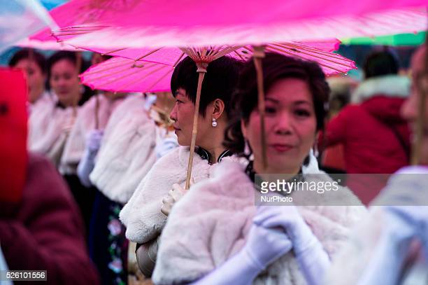Members of the Chinese community celebrate the Chinese Lunar New Year on February 14 in Milan Italy Millions of Chinese around the world are...