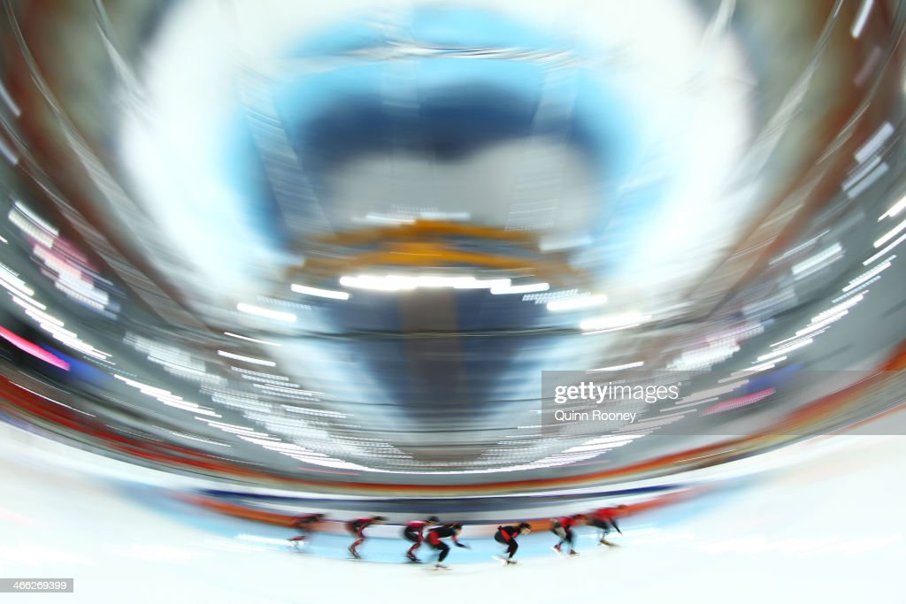Members of the Chinese Speed Skating team skate during a training session prior to the Sochi 2014 Winter Olympics at Adler Arena on February 1, 2014 in Sochi, Russia.