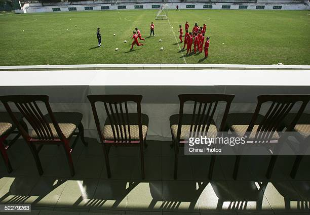 Members of the Chinese womens football team take part in training at a training base on March 4, 2005 in Chengdu of Sichuan Province, China. The team...