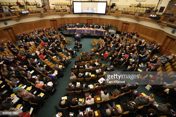 Members of the church listen to speakers at the General Synod in Assembly Hall on February 15 2017 in London England Members of the Church of England...