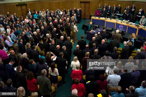 Members of the church stand ahead of the final session at the General Synod in Assembly Hall on February 15 2017 in London England Members of the...