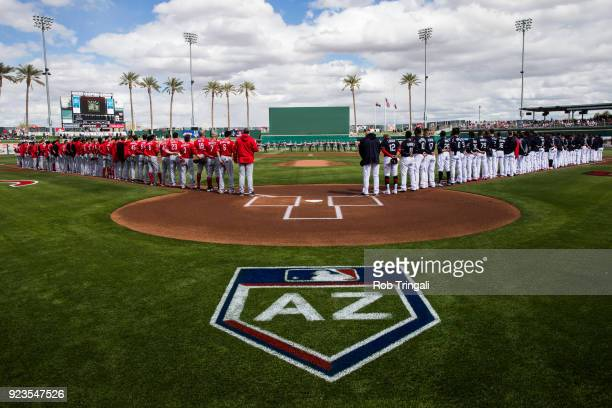 Members of the Cincinnati Reds and the Cleveland Indians stand for the National Anthem before a Spring Training Game at Goodyear Ballpark on February...