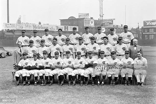 Members of the Cincinnati Reds pose for a team portrait prior to game one of the World Series on October 2 1940 against the Detroit Tigers at Crosley...