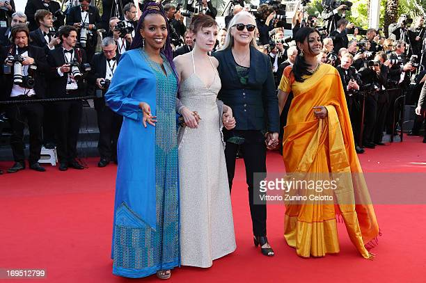 Members of the Cinefondation and short film jury director Majida Abdi actress Nicoletta Braschi director and jury president Jane Campion and actress...