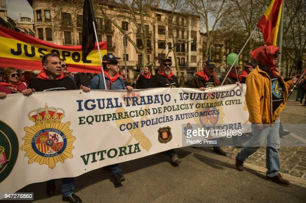 SPAIN PAMPLONA NAVARRA SPAIN Members of the Civil Guard and State police and their families ask for equality of salaries between these bodies and the...