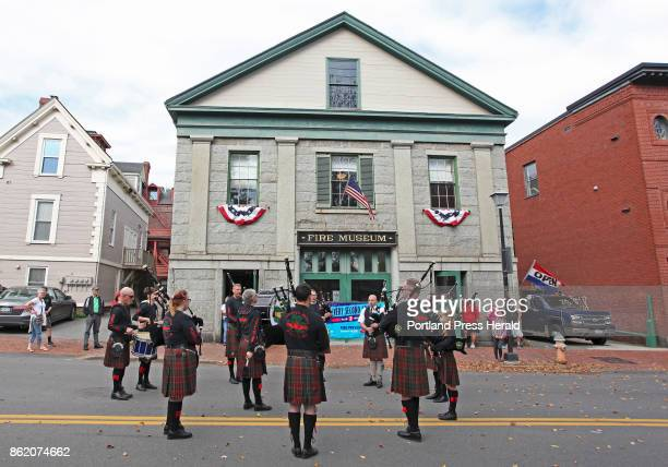 Members of the Claddagh Mhor Pipe Band entertain visitors outside the Portland Fire Museum during the annual open house