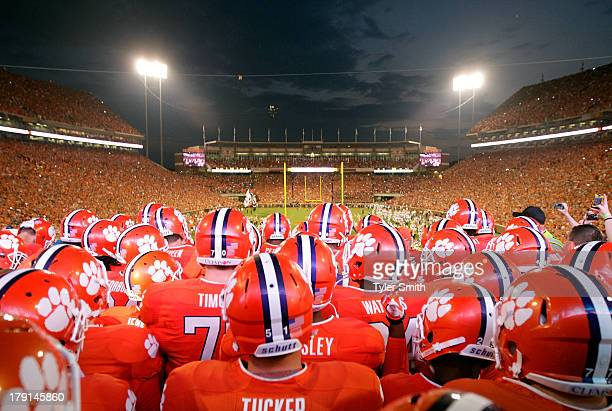 Members of the Clemson Tigers Football team gather at the top of the hill prior to the game against the Georgia Bulldogs at Memorial Stadium on...