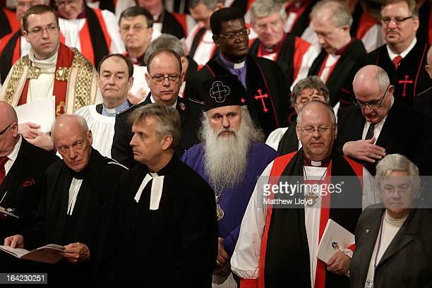 Members of the clergy and different faith groups take part in a service as The Most Rev Justin Welby is enthroned as Archbishop of Canterbury at...
