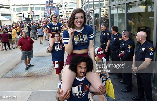 Members of the Cleveland Cavaliers cheer team perform prior to Game Four of the 2015 NBA Finals against the Golden State Warriors at Quicken Loans...
