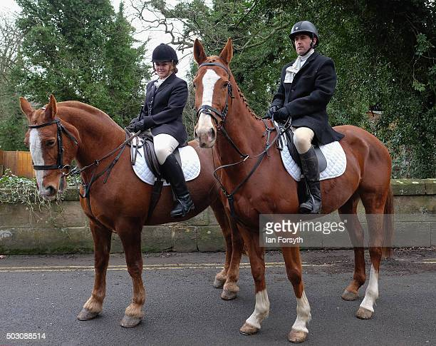 Members of the Cleveland Hunt prepare to ride out on the traditional New Year's Day hunt on January 1, 2016 in Guisborough, United Kingdom....