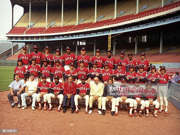 Members of the Cleveland Indians pose for a team portrait prior to a game in 1975 at Municipal Stadium in Cleveland Ohio Those pictured include...