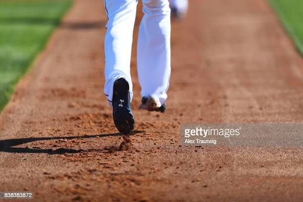 Members of the Cleveland Indians run the bases during a workout on Friday February 24 2017 at Goodyear Ballpark in Goodyear Arizona
