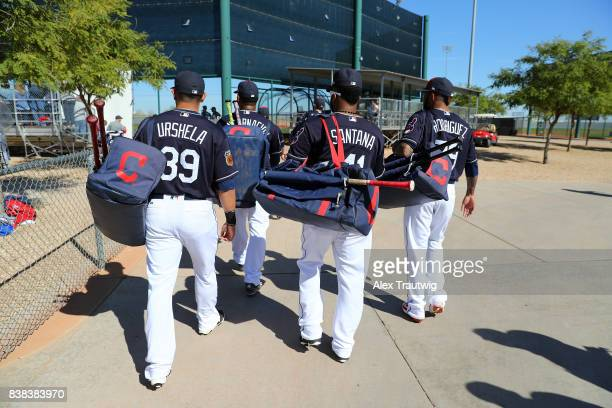 Members of the Cleveland Indians take the field during a workout on Friday February 24 2017 at Goodyear Ballpark in Goodyear Arizona