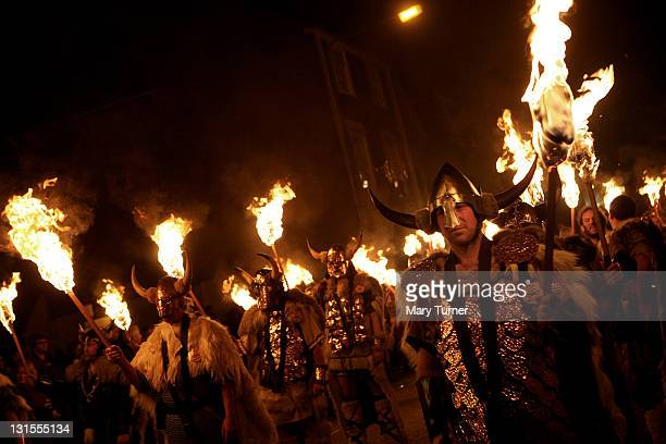 Members of the Cliffe Bonfire Society during the Lewes annual bonfire night parade on November 05 2011 in Lewes England Thousands of people attend...