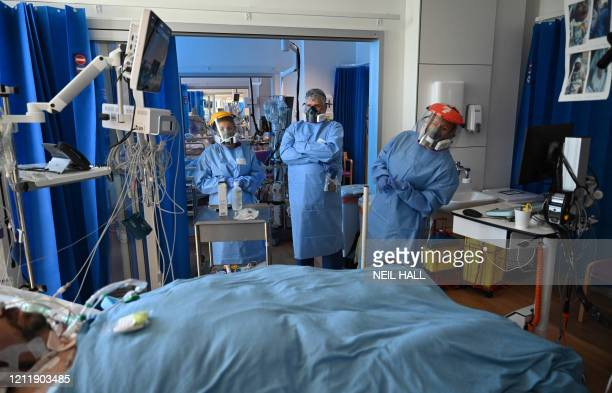 Members of the clinical staff wear personal protective equipment as they care for patients at the Intensive Care unit at Royal Papworth Hospital in...