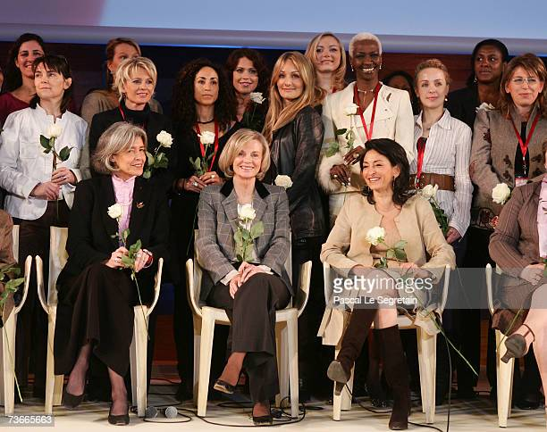 Members of the Coalition front row French Minister for Research and New Technologies Claudie Haignere French politician Elisabeth Guigou Algerian...