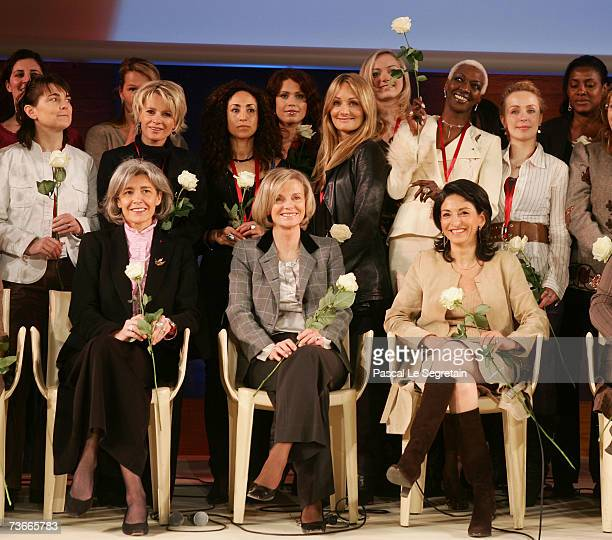 Members of the Coalition rront row French Minister for Research and New Technologies Claudie Haignere French politician Elisabeth Guigou Algerian...