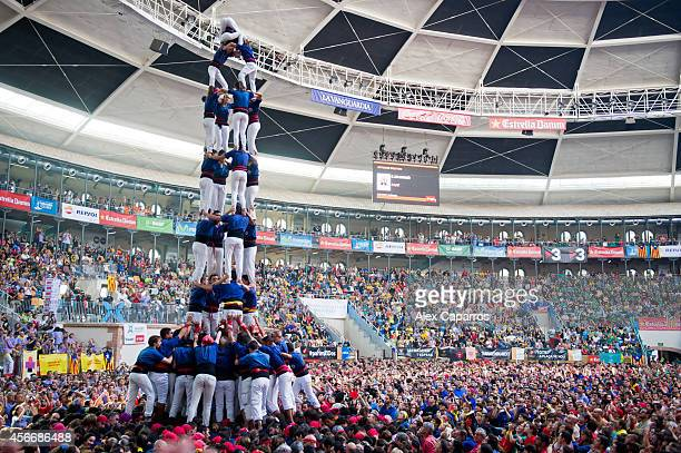 Members of the Colla 'Capgrossos de Mataro' during the construction of a human tower during the 25th Tarragona Castells Competition on October 5 2014...