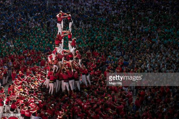 Members of the Colla Joves Xiquets de Valls built a human tower during the 27th Tarragona Competition on October 07 2018 in Tarragona Spain The...