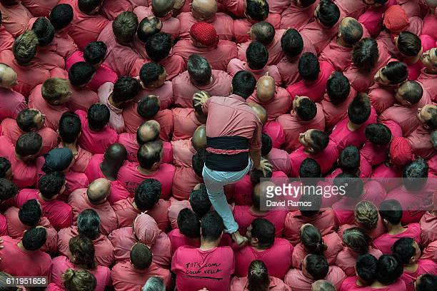 Members of the colla 'Vella de Valls' build a human tower during the 26th Tarragona Competition on October 2 2016 in Tarragona Spain The 'Castellers'...