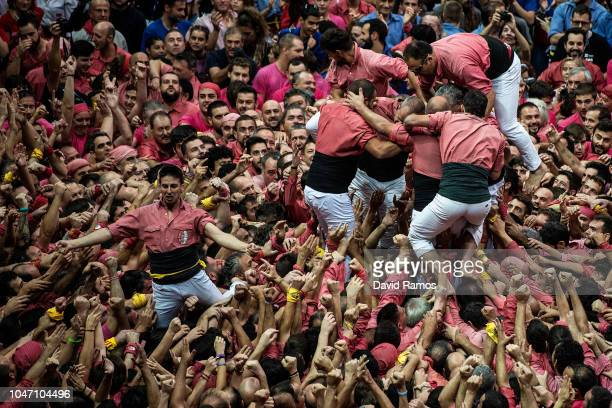Members of the Colla Vella Xiquets de Valls celebrare after building a human tower during the 27th Concurs de Castells competition on October 7 2018...