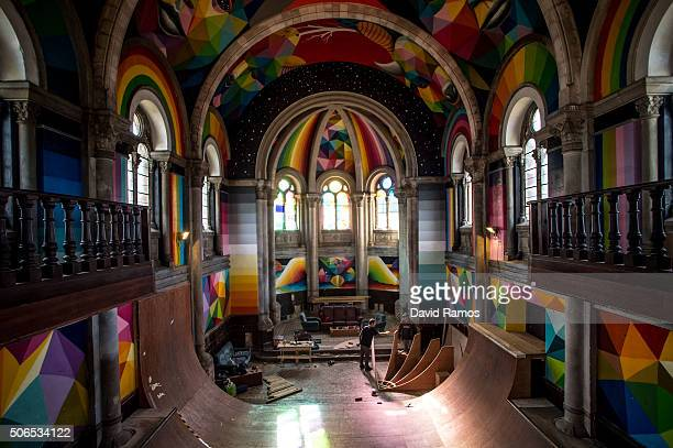 Members of the collective The Church Brigade work on a ramp of a skate park inside the Santa Barbara church on January 23 2016 in Oviedo Spain A...