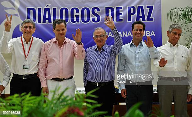 Members of the Colombia govermental delegation in peace talks with the FARC guerrilla General Oscar Naranjo Commissioner for the peace Sergio...