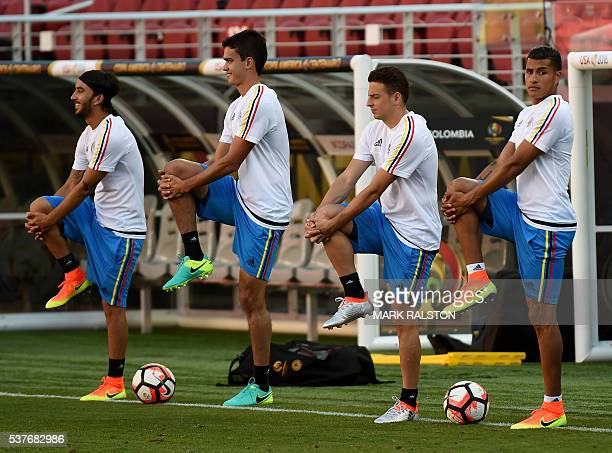 Members of the Colombia men's soccer team train before their opening COPA America 2016 match against the US at the Levi's Stadium in Santa Clara on...