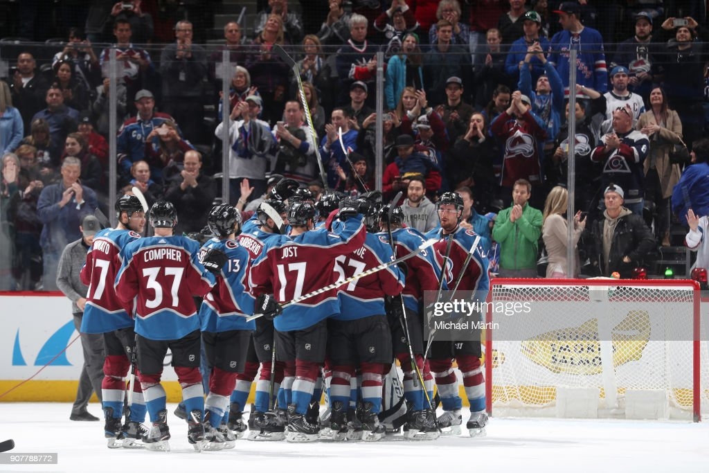 Members of the Colorado Avalanche celebrate after a win against the New York Rangers at the Pepsi Center on January 20, 2018 in Denver, Colorado. The Avalanche defeated the Rangers 3-1.