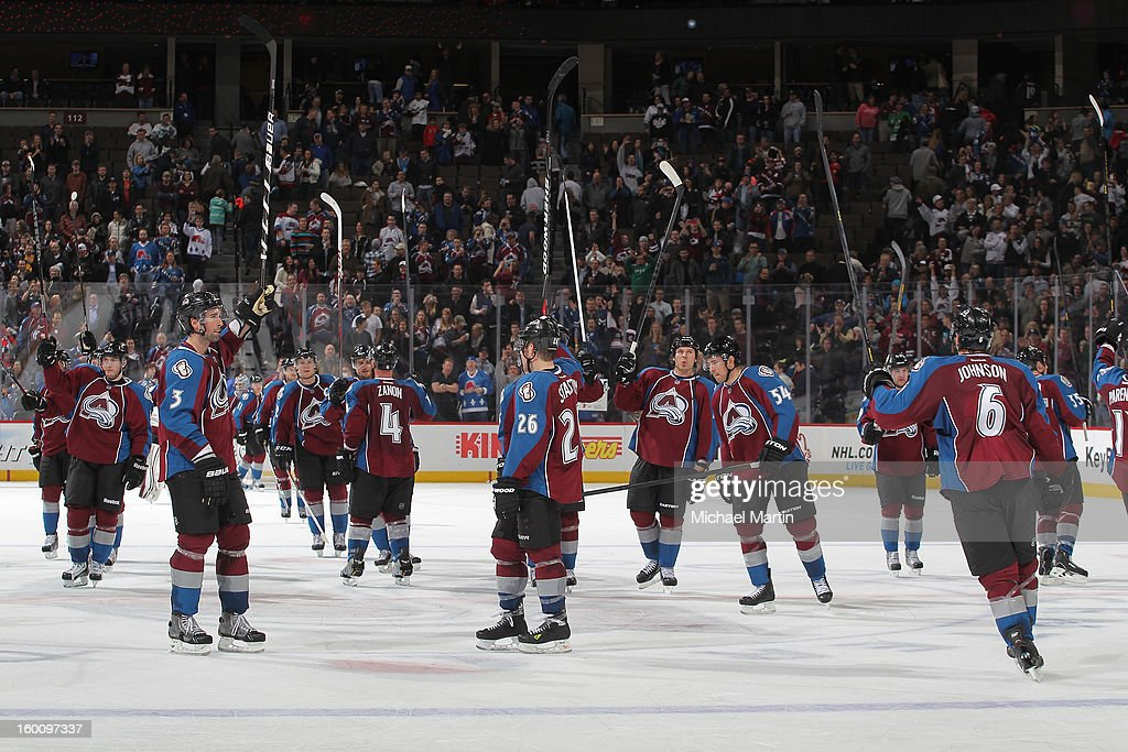 Members of the Colorado Avalanche celebrate the victory against the Columbus Blue Jackets at the Pepsi Center on January 24, 2013 in Denver, Colorado. The Avalanche defeated the Blue Jackets 4-0.