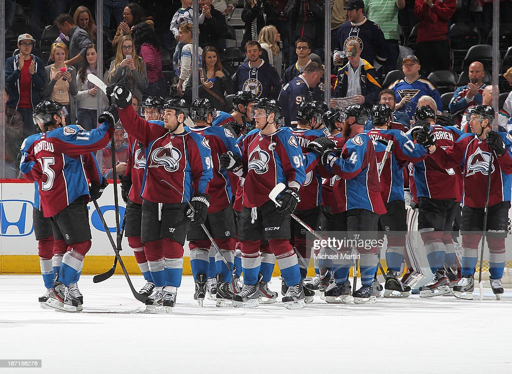Members of the Colorado Avalanche celebrate the victory against the St Louis Blues at the Pepsi Center on April 21, 2013 in Denver, Colorado. The Avalanche defeated the Blues 5-3.
