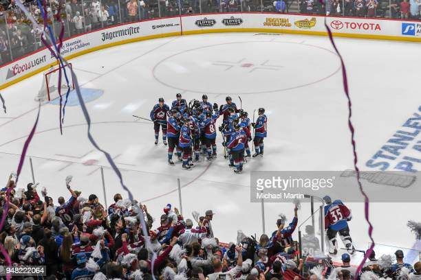 Members of the Colorado Avalanche celebrate the victory against the Nashville Predators in Game Three of the Western Conference First Round during...