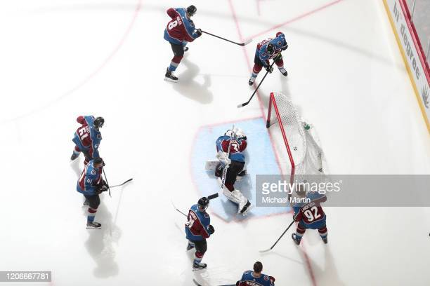 Members of the Colorado Avalanche warm up prior to the game against the New York Rangers at Pepsi Center on March 11 2020 in Denver Colorado