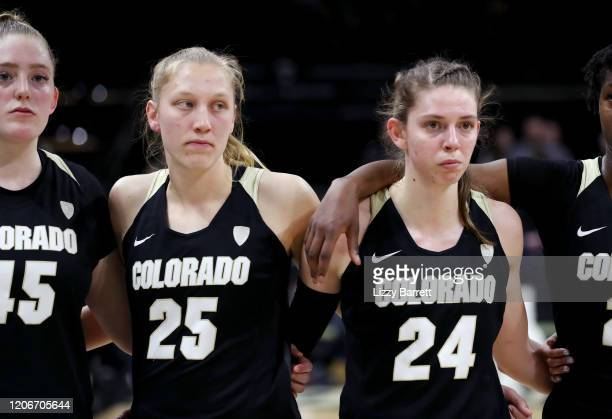 Members of the Colorado Buffaloes line up on the court after a buzzerbeating half court shot from Kiana Williams of the Stanford Cardinal to win the...