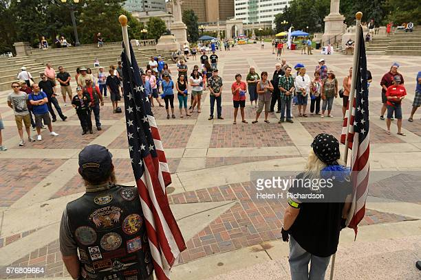 Members of the Colorado Patriot Guard stand guard during a Pro Police rally at the amphitheater in Civic Center Park on July 17 2016 in Denver...