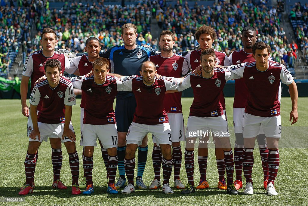 Members of the Colorado Rapids pose for the team photo prior to the match against the Seattle Sounders FC at CenturyLink Field on April 26, 2014 in Seattle, Washington.