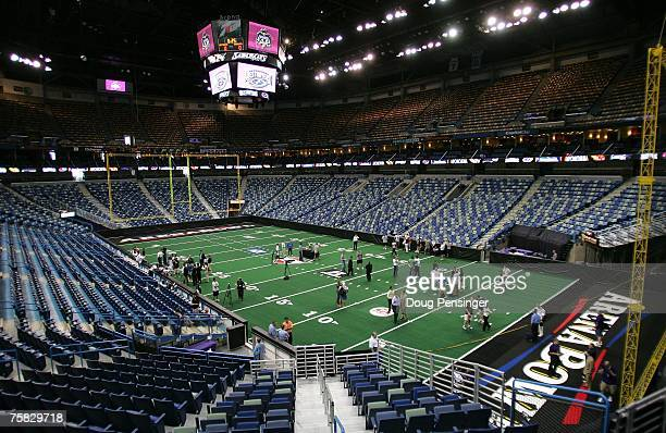 Members of the Columbus Destroyers speak with the media during ArenaBowl XXI Media Day at the New Orleans Arena on July 27 2007 in New Orleans...