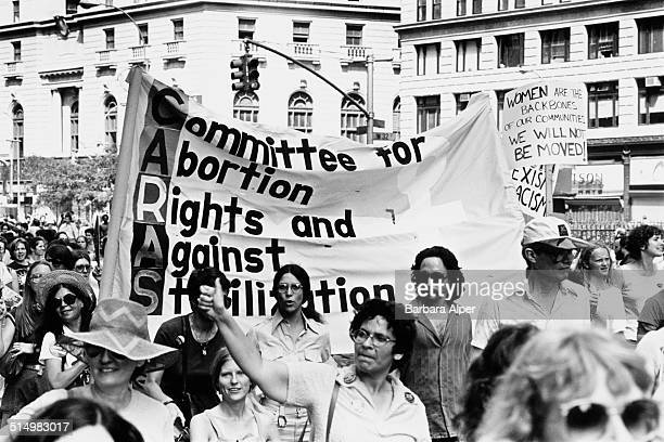 Members of the Committee for Abortion Rights and Against Sterilization take part in a People's Convention in New York City just before the start of...