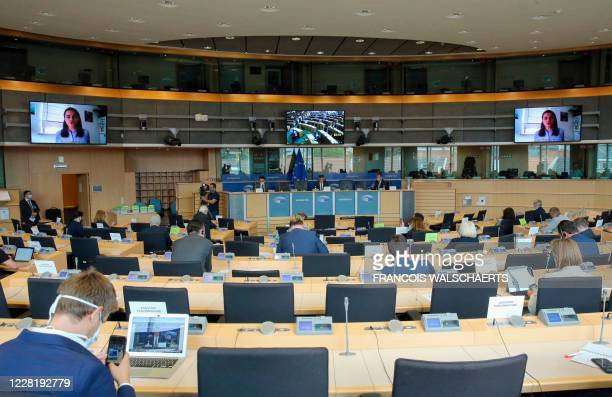 Members of the Committee on Foreign Affairs of the European Parliament attend a video-conference meeting with Belarusian opposition figurehead...