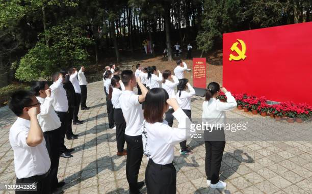 Members of the Communist Party of China visit the Memorial for the Site of the First Yunnan Provincial Congress of the CPC on March 28, 2021 in...