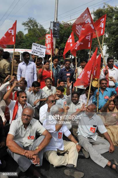 Members of the Communist Party of India and Communist Party of IndiaMarxists protest against a fare hike by the Andhra Pradesh State Road Transport...