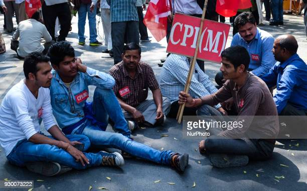 Members of the Communist Party of India CPI and other Leftist parties protest against Bhartiya Janta Party in New Delhi India on March 9 claiming...