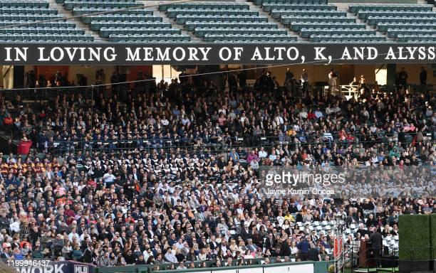 Members of the community attend a memorial service honoring baseball coach John Altobelli his wife Keri and their daughter Alyssa at Angel Stadium of...