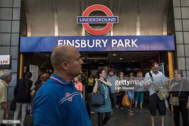 Members of the community enter and exit Finsbury Park Underground Station after an incident in which a van hit worshippers in the early hours of the...