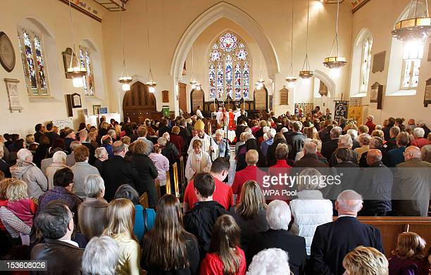 Members of the community of Machynlleth attend a Sunday church service at St Peter's Church for missing fiveyearold April Jones on October 7 2012 in...