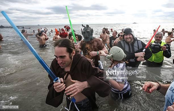 Members of the Coney Island's Polar Bear Club attend their annual 'New Year's Day Polar Bear Dip' on New Years Day at Coney Island beach on in New...
